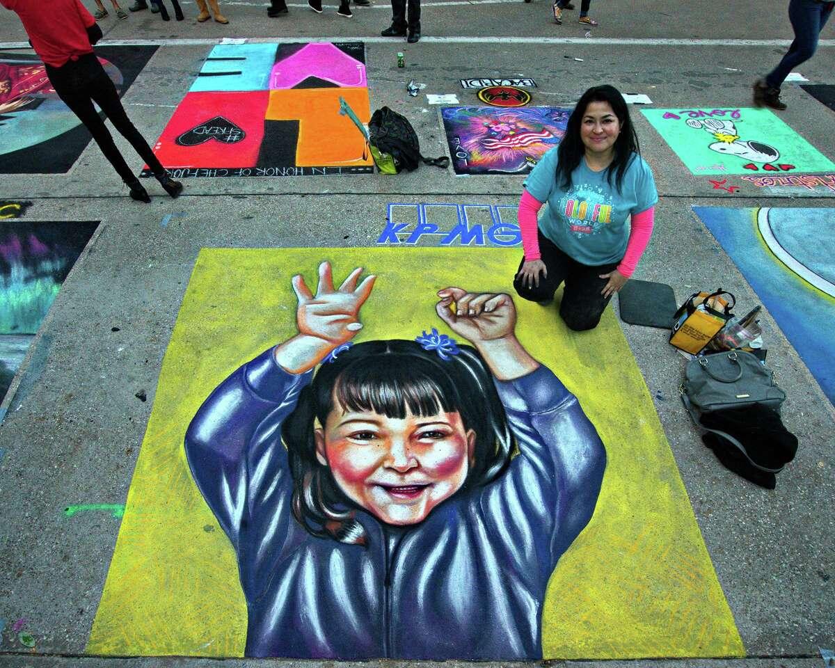 Street chalk artist Alba Amezcua will be at this year's Via Colori chalk-art celebration in downtown Houston.