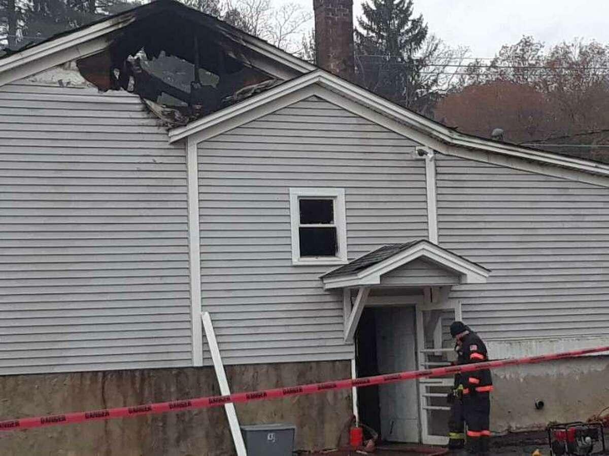 A fire heavily damaged Marino's Restaurant on Pinewoods Road in Torrington Thursday.