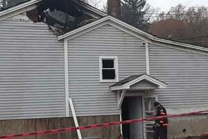 A fire heavily damaged Marino's Restaurant on Pinewoods Road in Torrington Thursday.