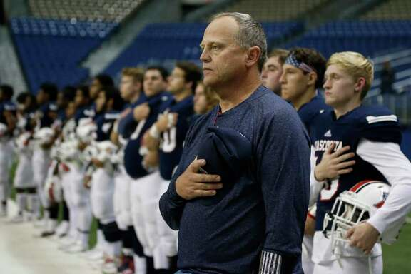 Atascocita head coach Craig Stump before the start of the Class 6A Division I state semifinal high school football game between Lake Travis and Atascocita at the Alamodome on Dec. 10, 2016.