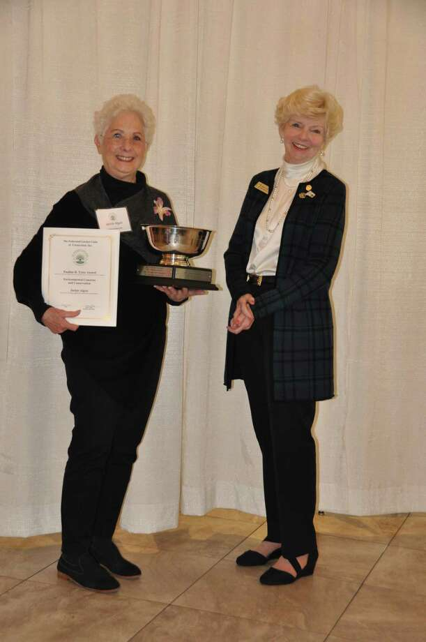Wilton Garden Club Conservation Chair, Jackie Algon, left, accepts the Pauline Tyler Award — Environmental Concerns and Conservation. Photo: Contributed Photo / Wilton Garden Club / Wilton Bulletin Contributed