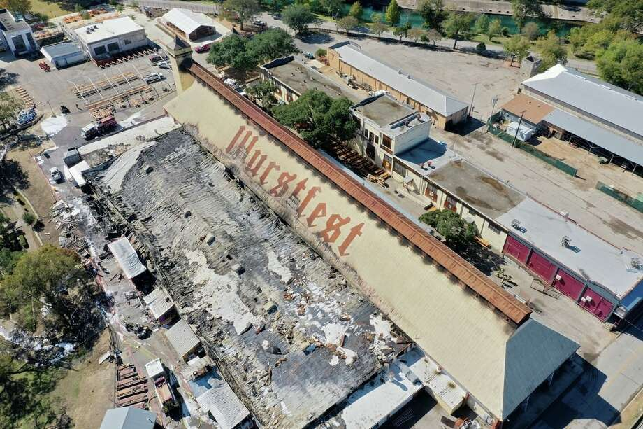 A fire broke out Friday morning at New Braunfel's Wurstfest grounds, destroying the Marktplaz and damaging the iconic Wursthalle. Photo: New Braunfels Police Department