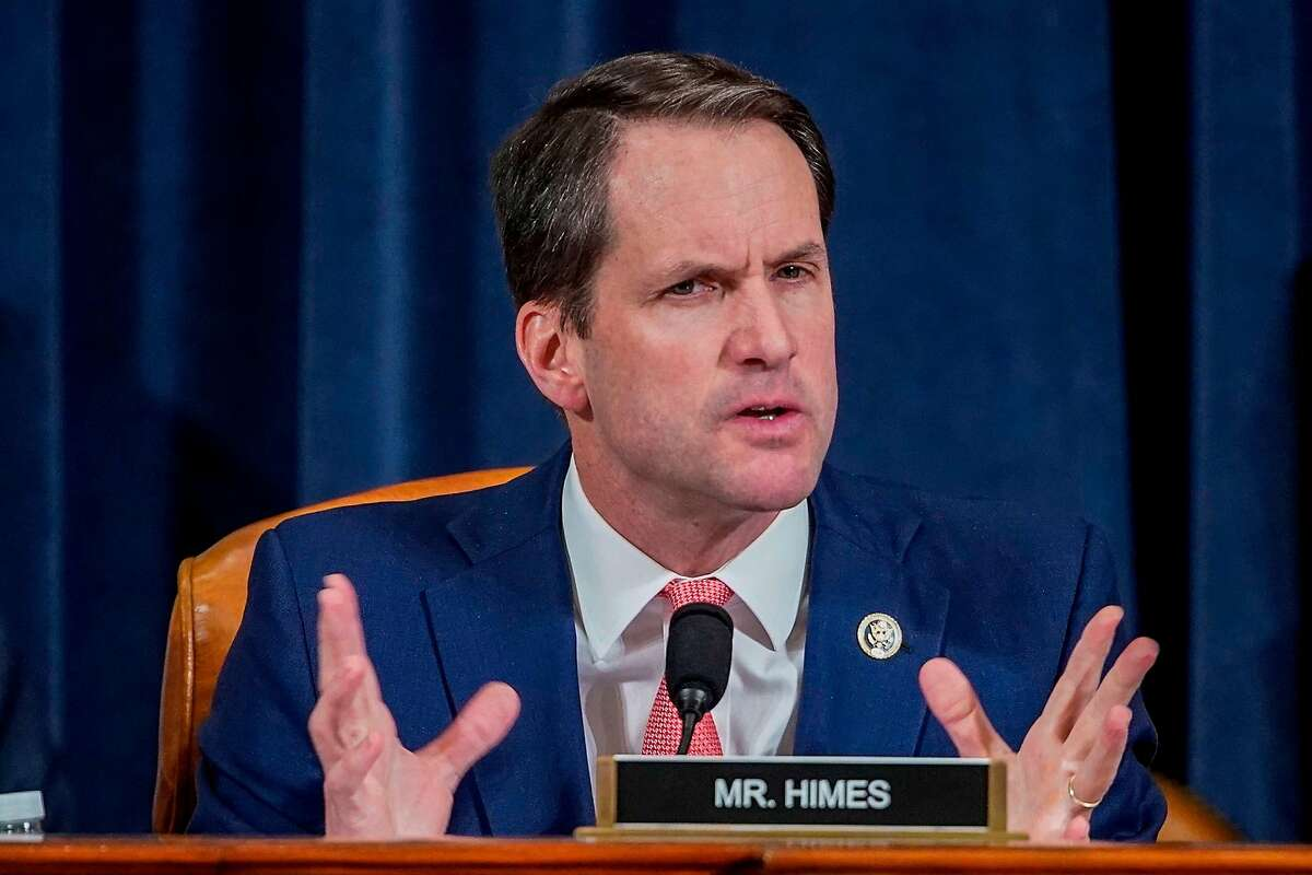 US Representative Jim Himes (R-CT) speaks during a House Intelligence Committee hearing featuring witness Marie Yovanovitch, former US ambassador to Ukraine, as part of the impeachment inquiry into US President Donald Trump on Capitol Hill in Washington, DC November 15, 2019. (Photo by JOSHUA ROBERTS / POOL / AFP) (Photo by JOSHUA ROBERTS/POOL/AFP via Getty Images)