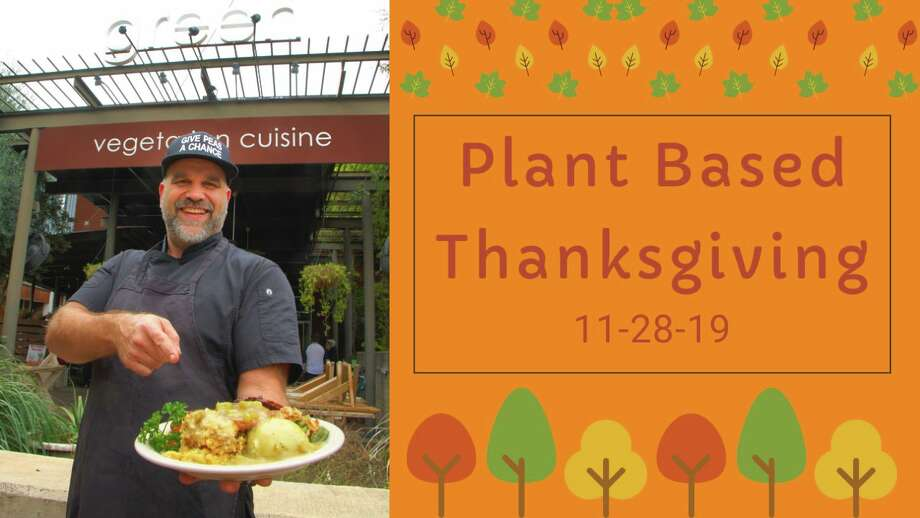 The restaurant is taking care of the cooking on Thanksgiving from 11 a.m. to 4 p.m. at both of its locations, the Historic Pearl and Alon Town Center. The plant-based spread includes tofu turkey, glazed ham, herb mashed potatoes and gravy, candied yams, sausage apple stuffing, green bean casserole, cranberry salad, a dinner roll, dessert and tea. Adult tickets are $30 each, kids are $12. Photo: Courtesy, Green Vegetarian Cuisine