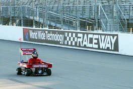 Apollo Timbers of Sedalia, Missouri, set the Guiness World Record for the fastest Radio Flyer wagon on Thursday, Nov. 14, going 30 mph at the World Wide Technology Raceway in Madison. The event benefited Shriners Hospital for Children in St. Louis.