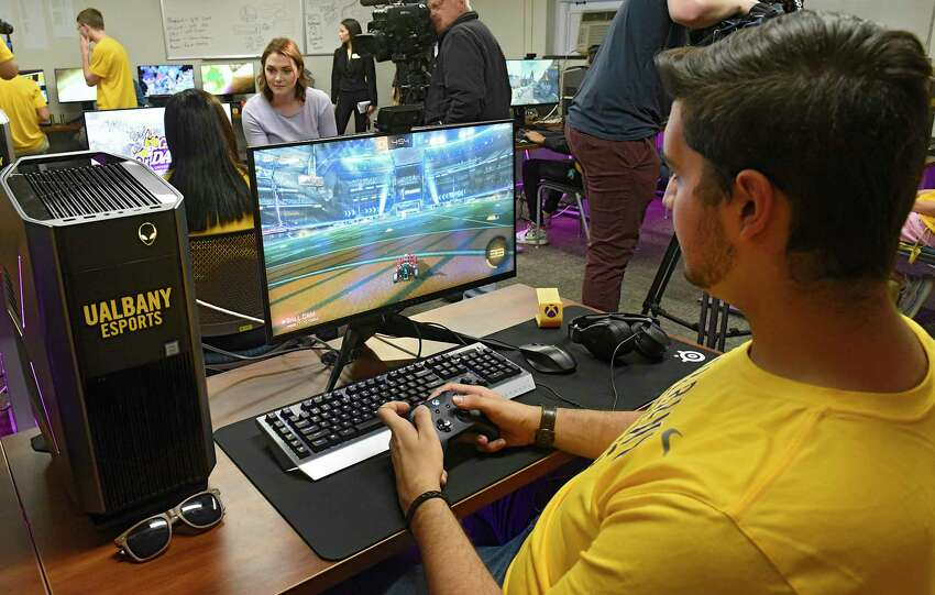 University at Albany junior Nick Waugh of Long Island, is seen playing Rocket League as UAlbany celebrates the launch of eSports on the downtown campus by showcasing its new competitive video gaming arena on Friday, Nov. 15, 2019 in Albany, N.Y. (Lori Van Buren/Times Union)