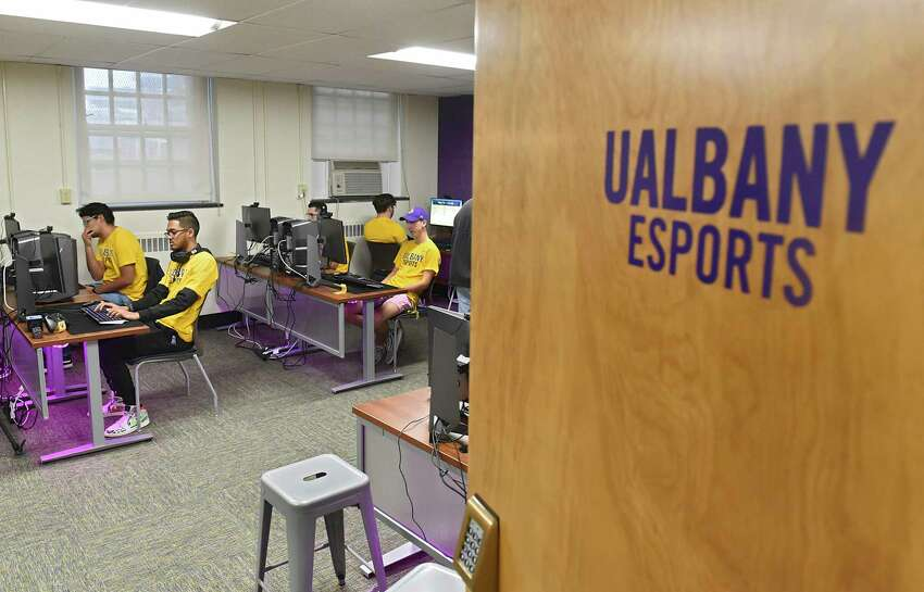 University at Albany students are seen playing video games as UAlbany celebrates the launch of eSports on the downtown campus by showcasing its new competitive video gaming arena on Friday, Nov. 15, 2019 in Albany, N.Y. (Lori Van Buren/Times Union)