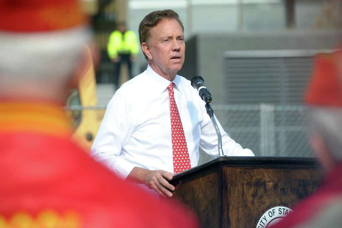 Governor Ned Lamont speaking in Stamford last week.