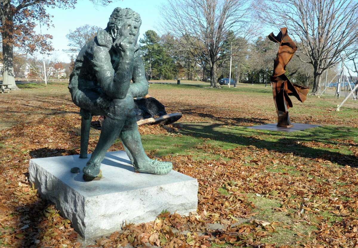 A couple of sculptures are all that remain on the former American Shakespeare Festival Theatre grounds in Stratford, Conn. Nov. 13, 2019. The theater building was destroyed by fire last January.