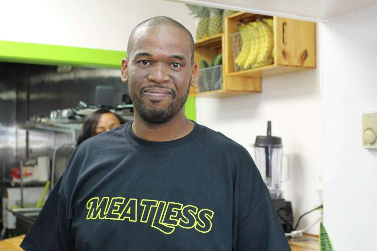Junior Mullings, owner of Jr's Meatless Cuisine and Juices in Bridgeport