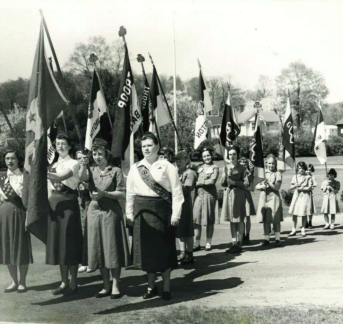 Girl Scouts at District I Rally in Washington Depot, May 11, 1955.