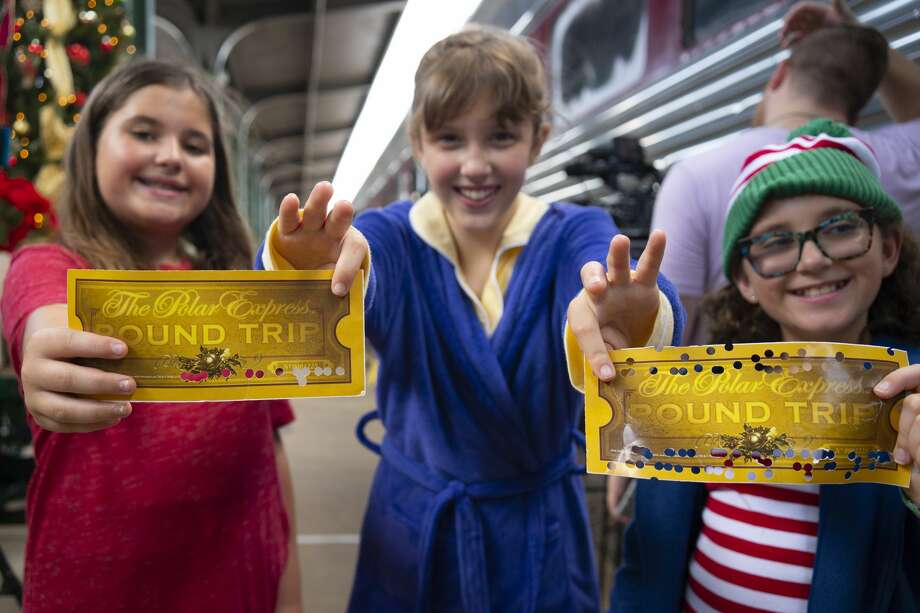 At The Polar Express, the magical story comes to life when the train departs the museum for a 60-minute round-trip journey to the North Pole. Photo: Courtesy Galveston Island Convention & Visitors Bureau