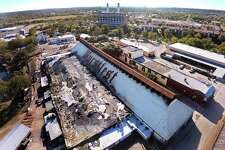 The New Braunfels Wurstfest festival site sustained heavy fire damage on morning of Friday, Nov. 15, 2019. The Marketplaz was destroyed and the Wursthalle was damaged.
