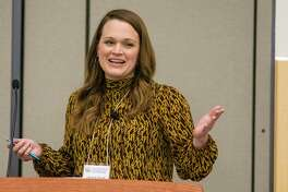 Elizabeth Trovall, Houston Public Media immigration reporter, speaks during the Lone Star College International Education Biennial on Friday, November 15, 2019 at the Lone Star College System Office in The Woodlands.