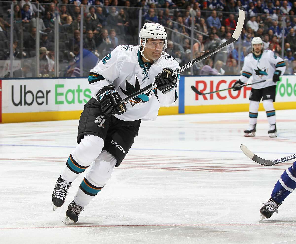 TORONTO, ON - OCTOBER 25: Patrick Marleau #12 of the San Jose Sharks skates in his 1500th NHL game against the Toronto Maple Leafs at Scotiabank Arena on October 25, 2019 in Toronto, Ontario, Canada. The Maple Leafs defeated the Sharks 4-1. (Photo by Claus Andersen/Getty Images)