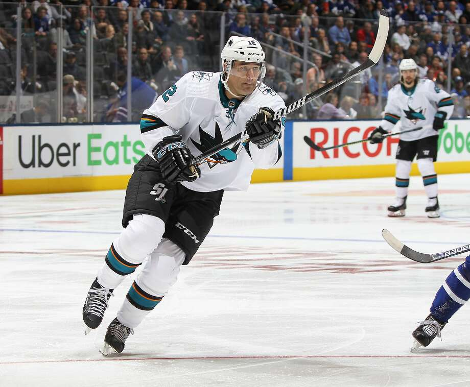 TORONTO, ON - OCTOBER 25: Patrick Marleau #12 of the San Jose Sharks skates in his 1500th NHL game against the Toronto Maple Leafs at Scotiabank Arena on October 25, 2019 in Toronto, Ontario, Canada. The Maple Leafs defeated the Sharks 4-1. (Photo by Claus Andersen/Getty Images) Photo: Claus Andersen / Getty Images