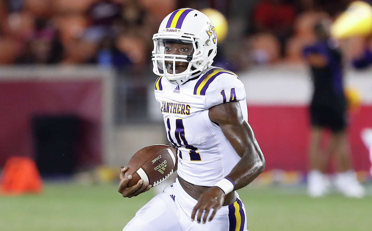 Prairie View A&M Panthers quarterback Trazon Connley (14) runs the ball in the second half of a college football game at BBVA Stadium, 8/31/19, in Houston.
