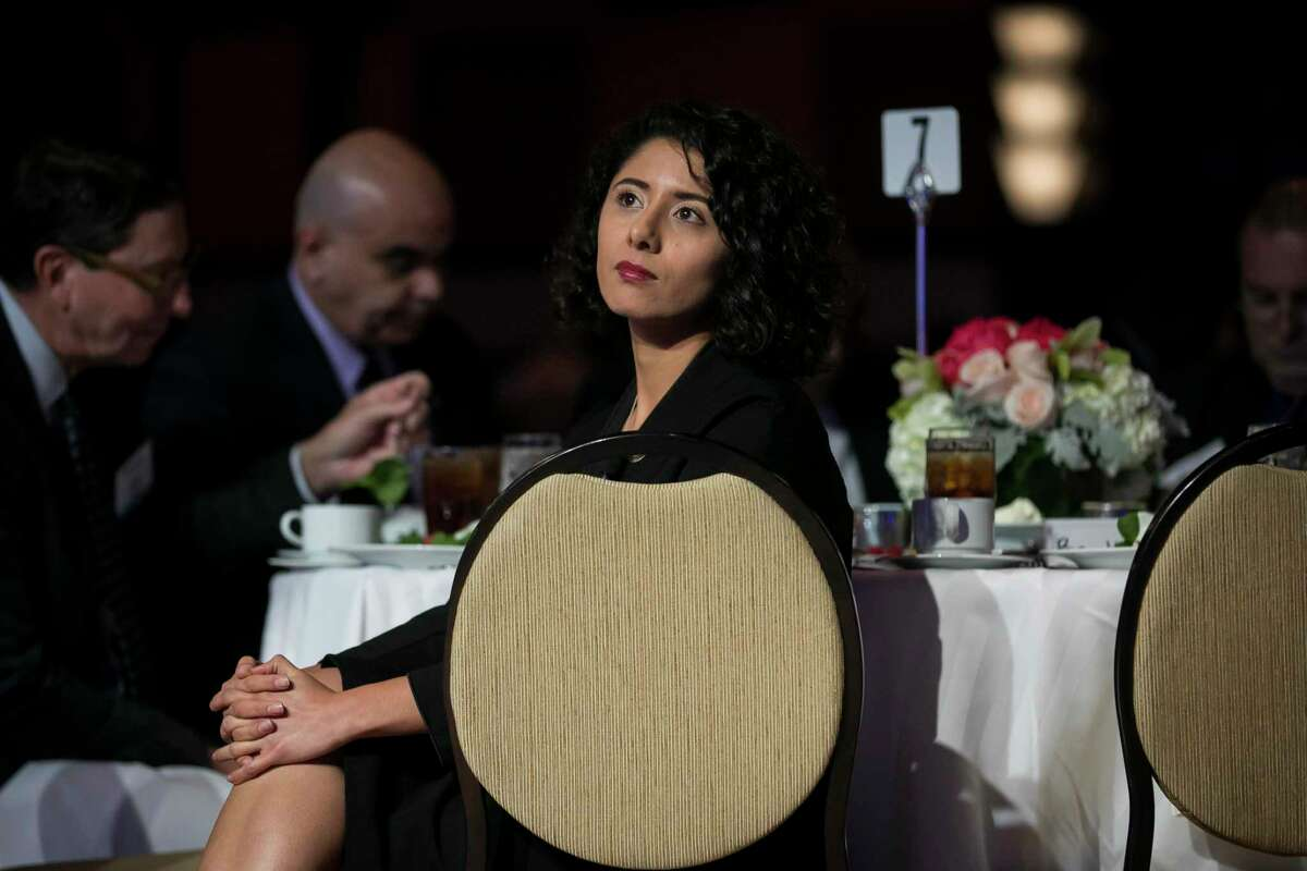 Harris County Judge Lina Hidalgo listens before giving her annual State of the County address on Friday, Nov. 15, 2019, in downtown Houston.