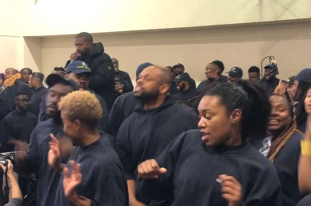 Rapper Kanye West appeared at the Harris County Jail on Friday, Nov. 15, 2019 for two unannounced jailhouse shows, one for more than 200 men at the 701 San Jacinto building, and another for a smaller group of women at the Baker Street jail.