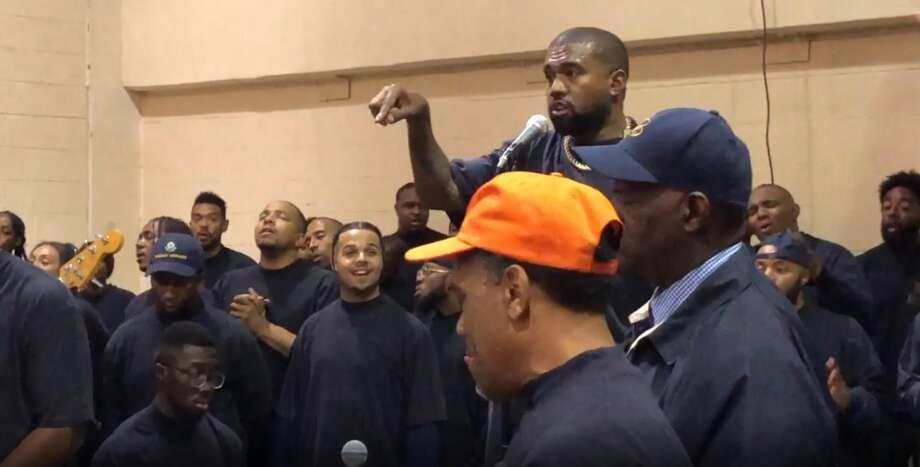 Rapper Kanye West appeared at the Harris County Jail on Friday, Nov. 15, 2019 for two unannounced jailhouse shows, one for more than 200 men at the 701 San Jacinto building, and another for a smaller group of women at the Baker Street jail. Photo: Harris County Sheriff's Office