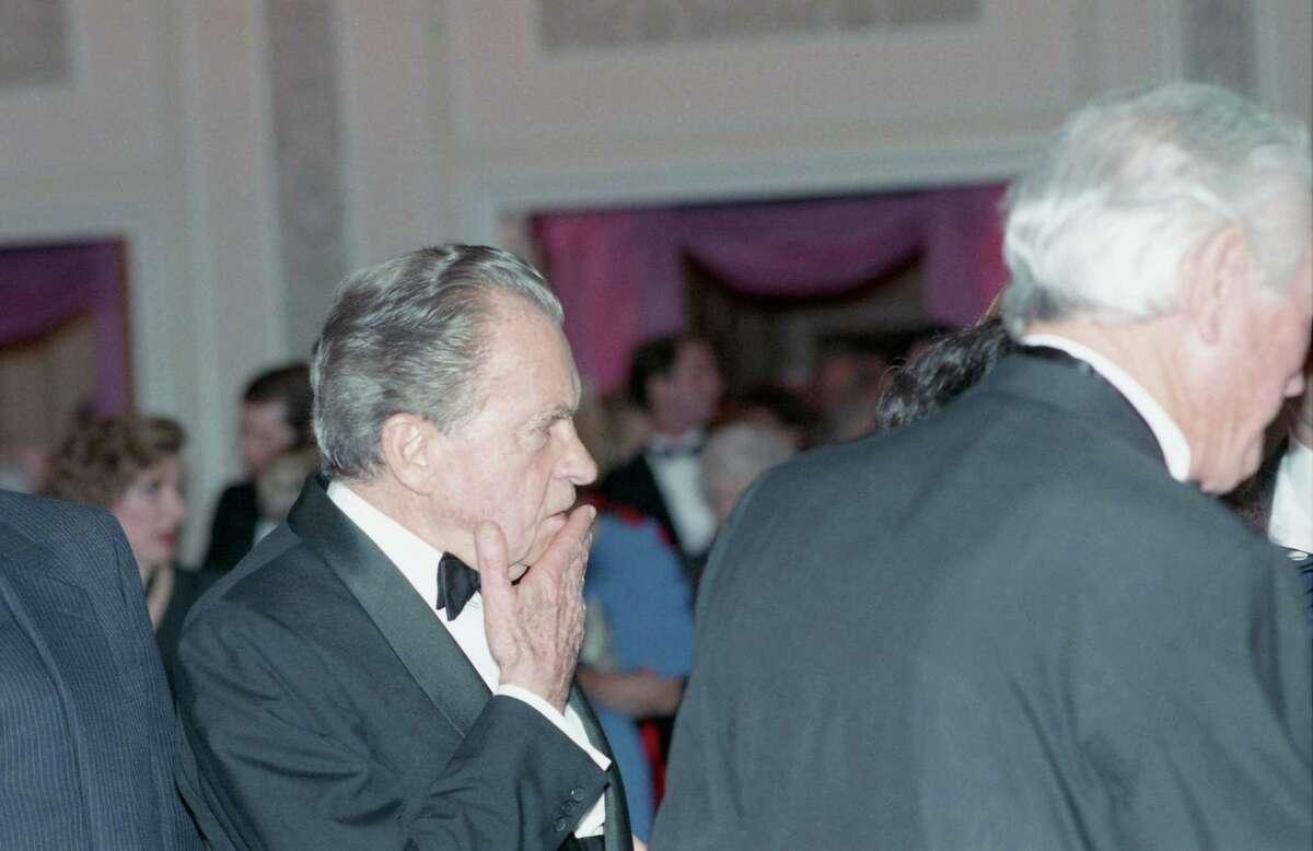 03/11/1989 - Former Pres. Richard Nixon at a tribute gala to Nellie Connally at the Westin Galleria ballroom.