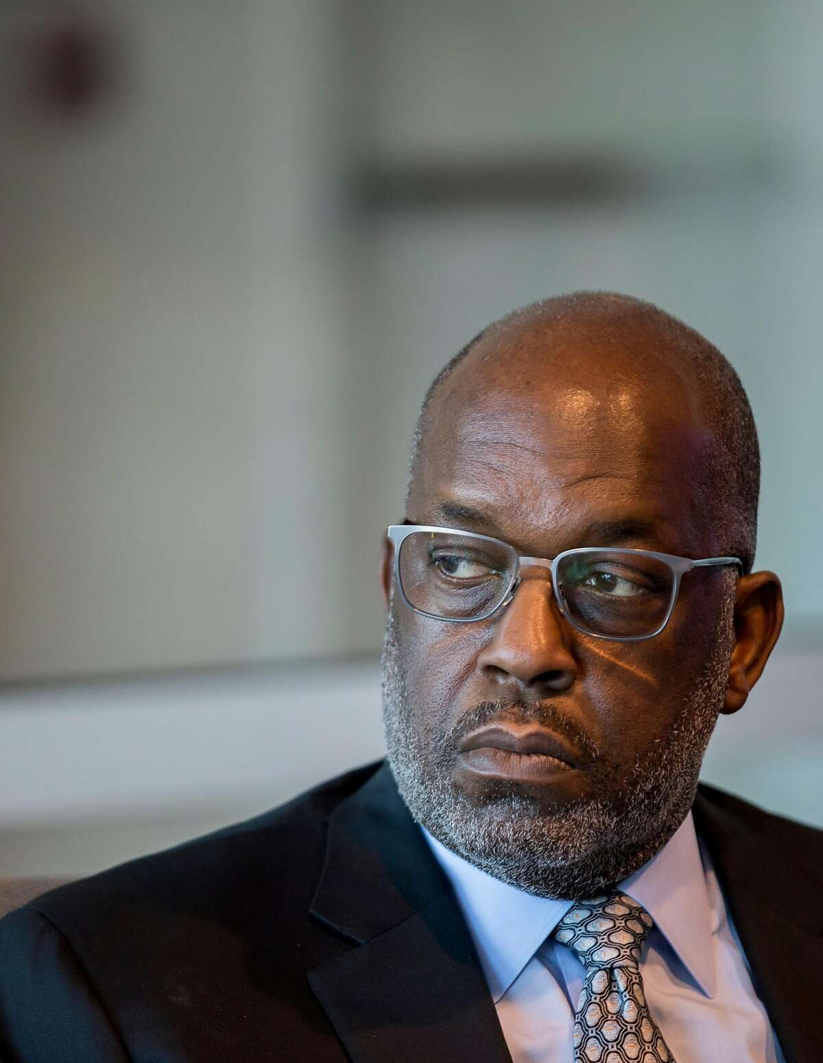 Kaiser Permanente CEO Bernard Tyson speaks to reporters before appearing at Commonwealth Club event to discuss homelessness at the Commonwealth Club in San Francisco, Calif. Wednesday, August 14, 2019.