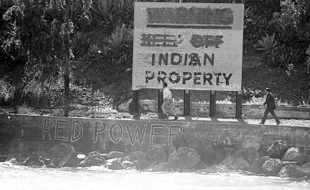Undated: An INDIAN PROPERTY sign was created during the Native American occupation of Alcatraz.