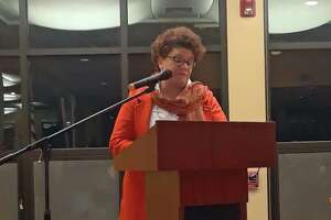 Litchfield held a swearing-in ceremony and celebration Thursday night at the Litchfield Community Center, following the town's municipal elections on Nov. 5. Newly elected first selectwoman Denise Raap speaks to the audience after the ceremony.
