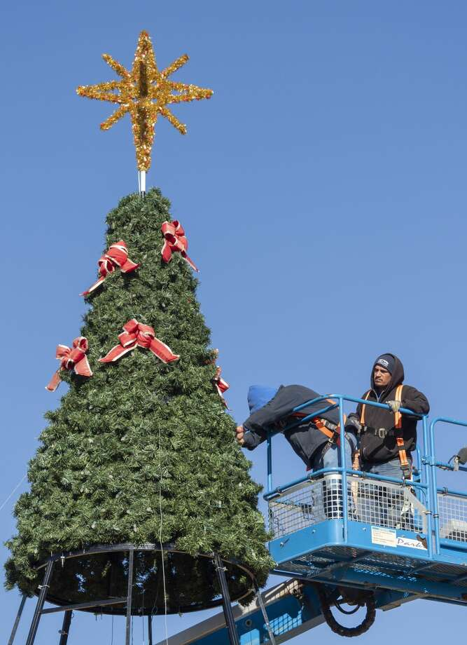 Parks & Recreation Department employees began installing the city's Christmas tree earlier this week at Wadley Baron Park. The annual tree lighting ceremony is 5:45 p.m. Dec. 7. The annual Christmas parade begins 6:30 p.m. Dec. 14. Photo: Tim Fischer/Midland Reporter-Telegram