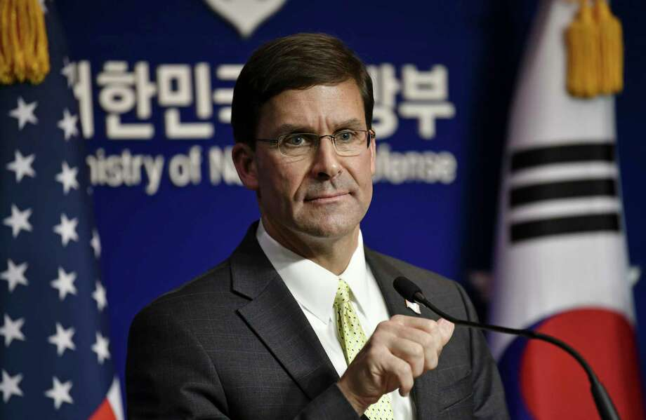 U.S. Defense Secretary Mark Esper attends a joint press conference with South Korean Defense Minister Jeong Kyeong-doo, after the 51st Security Consultative Meeting (SCM) at the Defense Ministry in Seoul Friday, Nov. 15, 2019. U.S. Defense Secretary Esper says South Korea is wealthy enough to pay a bigger share of the cost of having U.S. troops on its soil. (Jung Yeon-je/Pool Photo via AP) Photo: Jung Yeon-je / AFP Pool