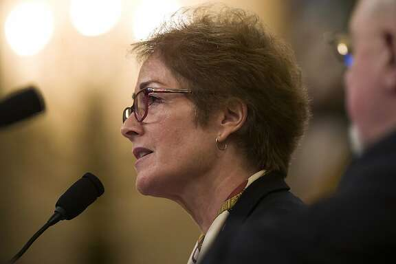 Former U.S. Ambassador to Ukraine Marie Yovanovitch testifies before the House Intelligence Committee on Capitol Hill in Washington, Friday, Nov. 15, 2019, during the second public impeachment hearing of President Donald Trump's efforts to tie U.S. aid for Ukraine to investigations of his political opponents. (AP Photo/Alex Brandon)