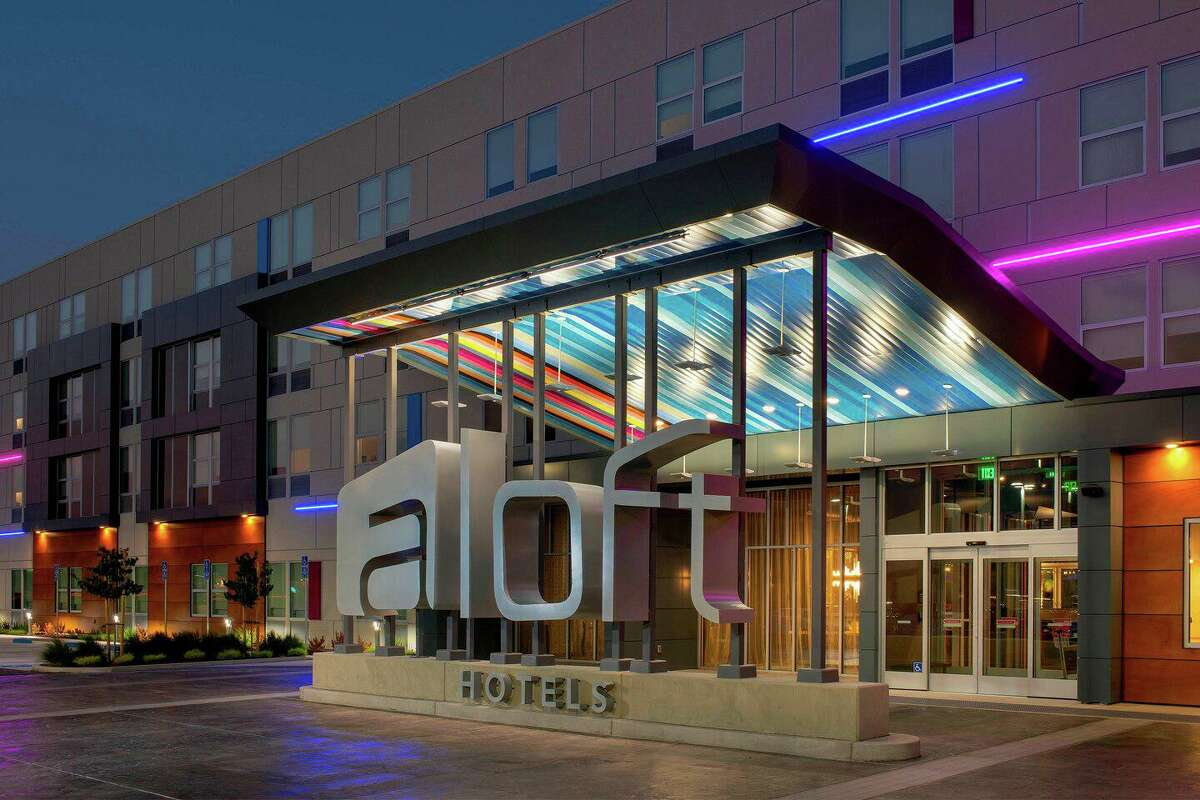 Aloft hotels features bright colors and airy designs. This photo is a representation of the hotel's facilities and amenities.