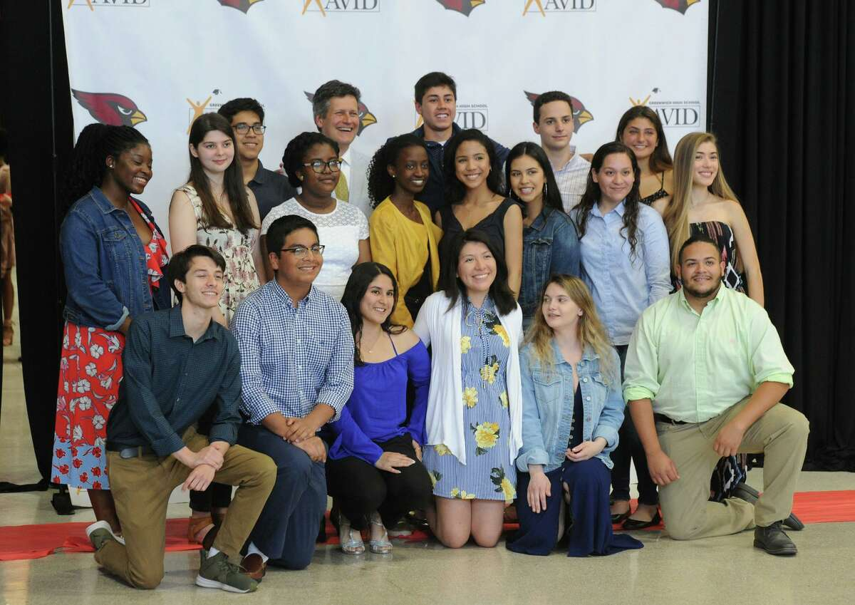The Greenwich High School AVID Graduation Ceremony in the student center at Greenwich High School, Conn., Wednesday, June 13, 2018. The Advancement Via Individual Determination program (AVID), targets students in the academic middle and mentors them throughout their school years to prepare them for college. Forty-four Greenwich High School seniors graduated from the program.