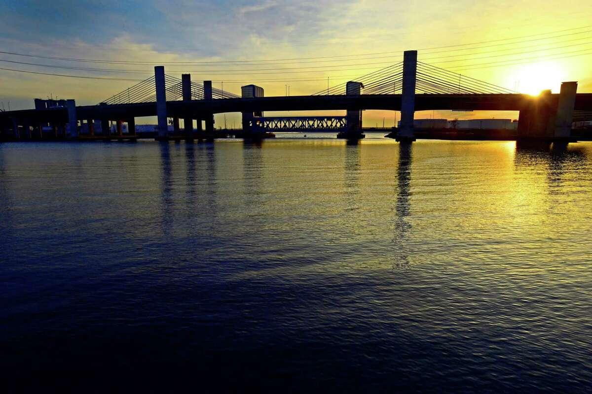 The Pearl Harbor Memorial Bridge over the Quinnipiac River in New Haven.