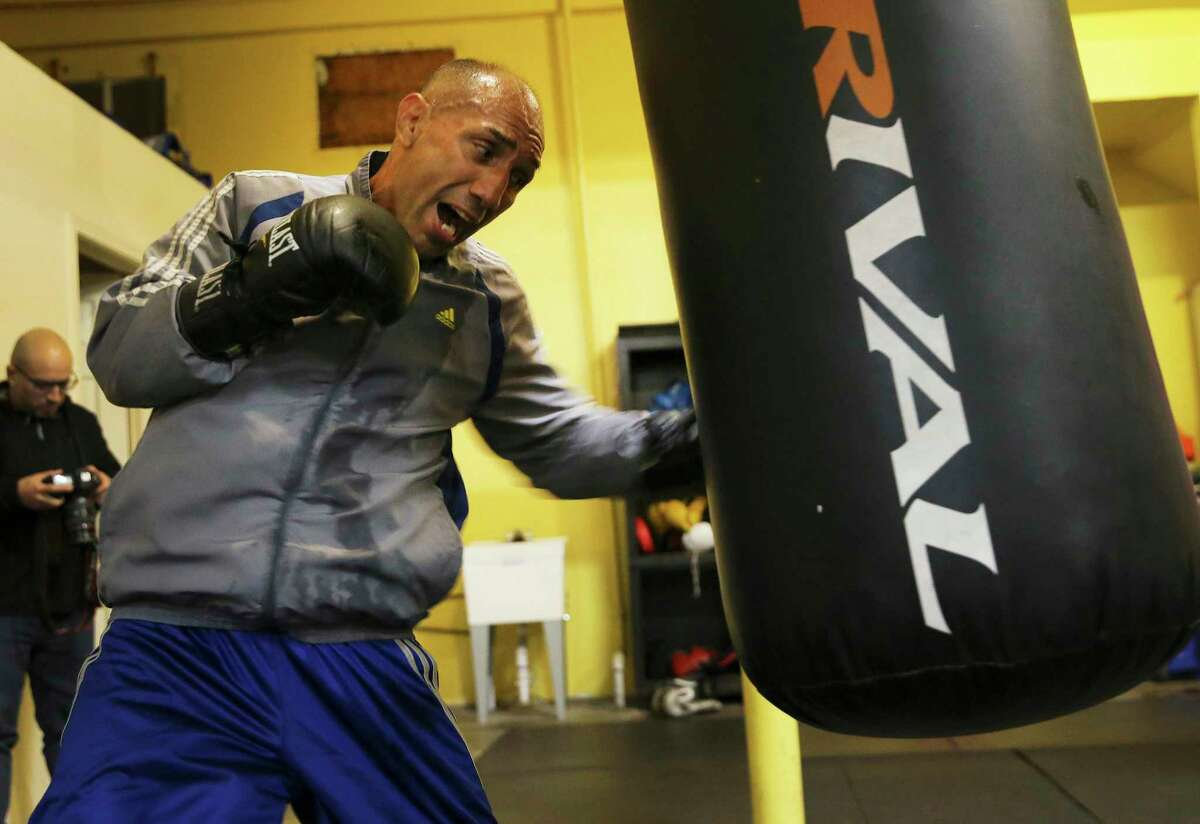 San Antonio's John Michael Johnson works out at TMB Morones Boxing for his upcoming fight this weekend. The 51 year old former three-time boxing champion will face 24-year-old Omar Castillo, Jr. of San Juan, Texas.