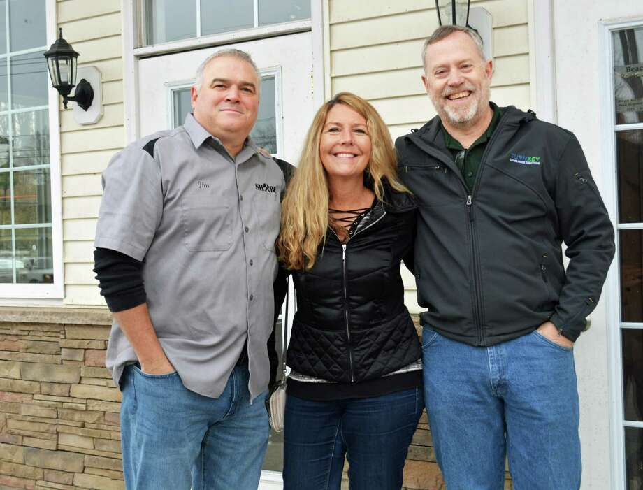 Steady Habit Brewery, formerly in the Tylerville section of Haddam, will be reopening seven miles away in Higganum center in early 2020. The new location is close to Middletown and twice the size. From left, owners Jim Venditti and his wife Amy and head brewer Scott Cross encourage a communal, social place for people to hang out and create new friends. Photo: Cassandra Day / Hearst Connecticut Media
