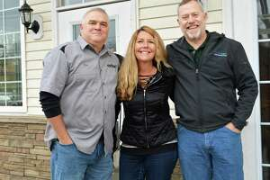 Steady Habit Brewery, formerly in the Tylerville section of Haddam, will be reopening seven miles away in Higganum center in early 2020. The new location is close to Middletown and twice the size. From left, owners Jim Venditti and his wife Amy and head brewer Scott Cross encourage a communal, social place for people to hang out and create new friends.