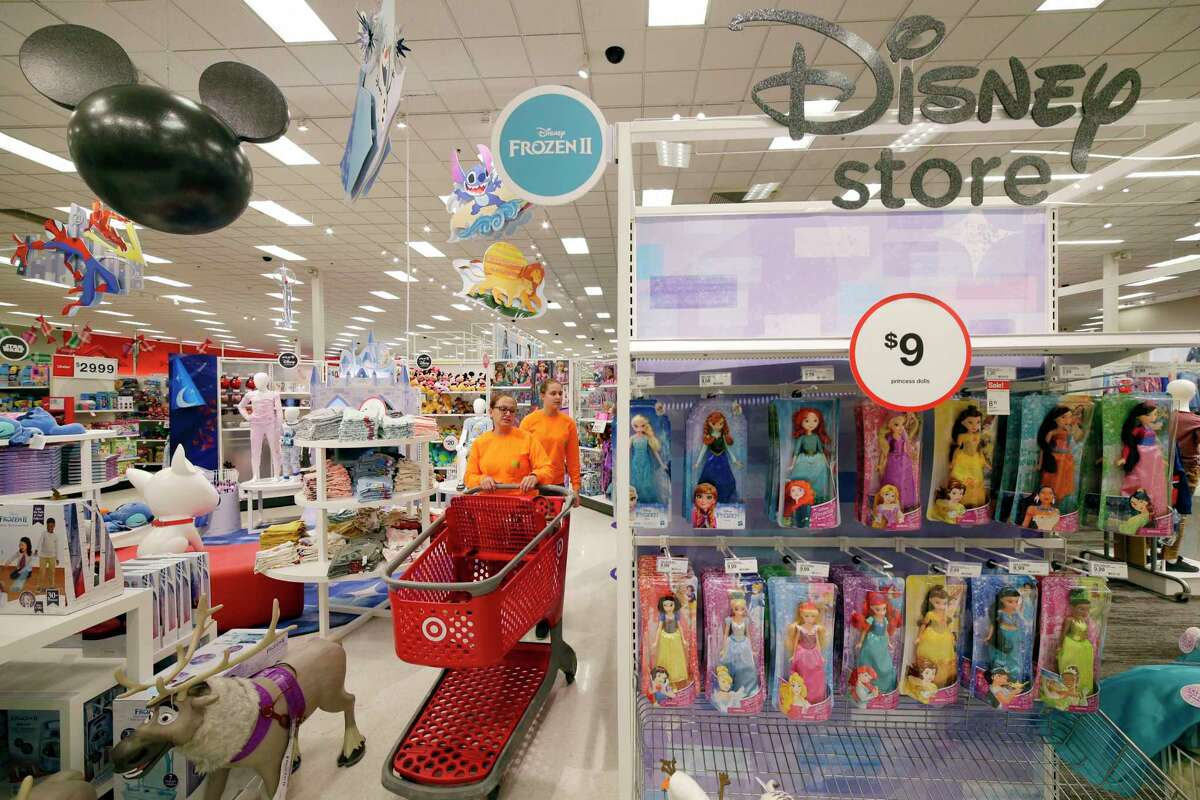 Glenda Gour and her daughter Cassie Gour shop at the Disney Store within a store in the Target store Monday, Nov. 11, 2019 in Spring, TX.