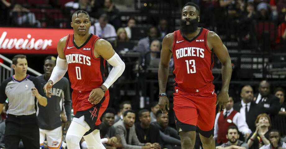 Houston Rockets guard Russell Westbrook (0) and guard James Harden (13) move down court during the third quarter of an NBA basketball game at the Toyota Center on Monday, Oct. 28, 2019, in Houston. Photo: Jon Shapley/Staff Photographer