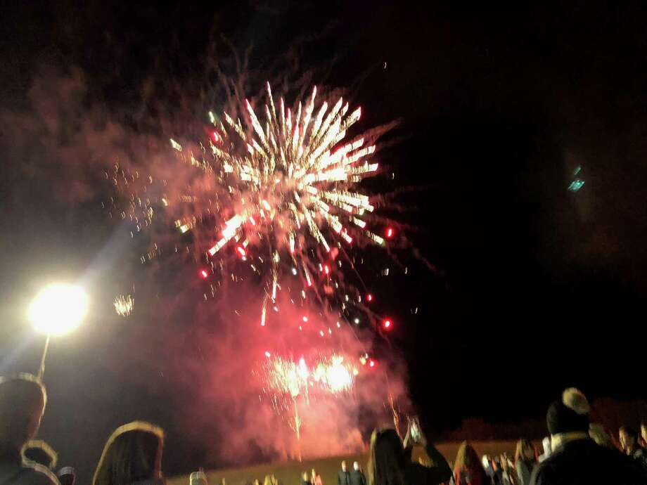 The Hargrave fall sports celebration included fireworks Photo: Elliott Lapin / Staff Photo