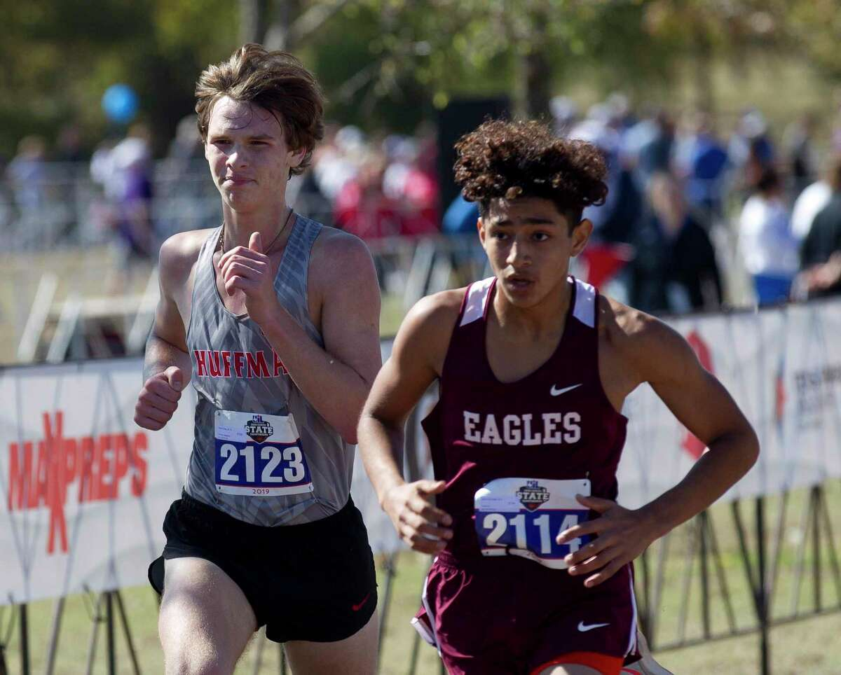 Austin Tinsley of Huffman Hargrave competes in the Class 4A boys race during the UIL State Cross Country Championships at Old Settlers Park, Saturday, Nov. 9, 2019, in Round Rock.