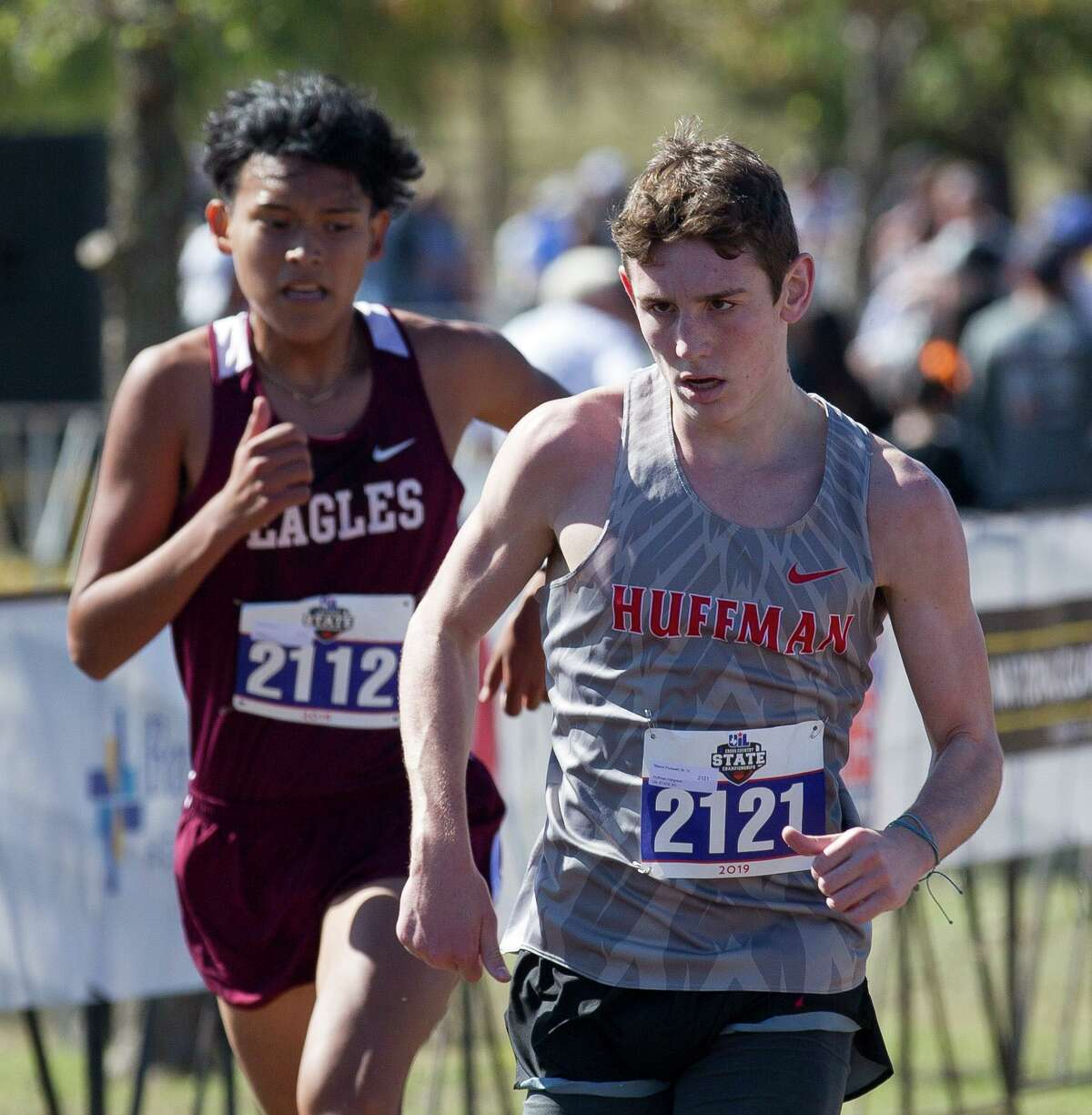 Mason Purswell of Huffman Hargrave competes in the Class 4A boys race during the UIL State Cross Country Championships at Old Settlers Park, Saturday, Nov. 9, 2019, in Round Rock.