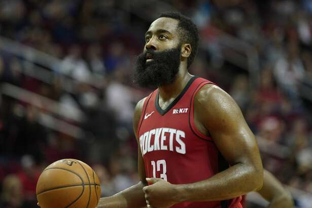 Houston Rockets' James Harden shoots a free-throw against the Golden State Warriors during the second half of an NBA basketball game Wednesday, Nov. 6, 2019, in Houston. The Rockets won 129-112. (AP Photo/David J. Phillip)