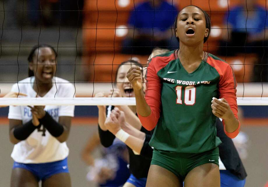 The Woodlands middle blocker Amanda Ifeanyi (10) reacts to a Plano West point during the first set of a Region II-6A semifinal volleyball match at Sam Houston State University, Friday, Nov. 15, 2019, in Huntsville. Photo: Jason Fochtman, Houston Chronicle / Staff Photographer / Houston Chronicle