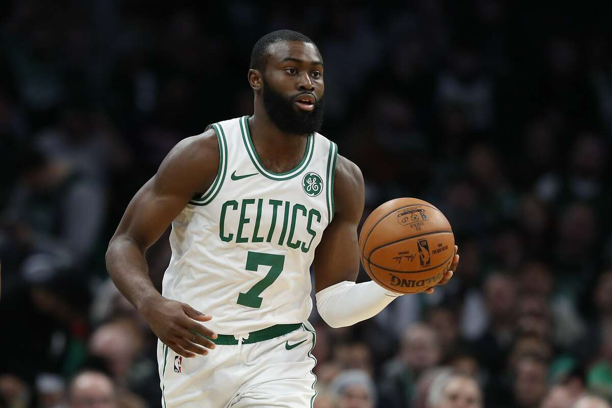 Boston Celtics' Jaylen Brown during the first quarter of an NBA basketball game against the Washington Wizards Wednesday, Nov. 13, 2019, in Boston. (AP Photo/Winslow Townson)