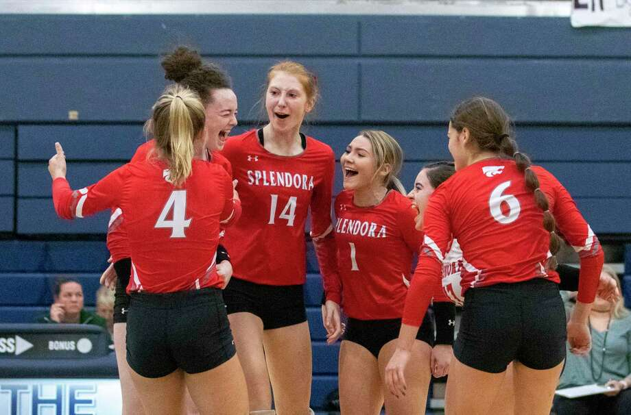 The Lady Cats celebrate after scoring during a Region III-4A semifinal match Friday, November 15, 2019 at Bryan High School. Photo: Cody Bahn, Houston Chronicle / Staff Photographer / © 2019 Houston Chronicle