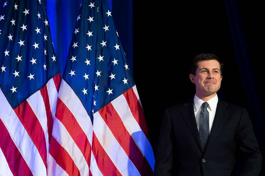 In this photo taken on Nov. 11, 2019 Democratic presidential hopeful Mayor Pete Buttigieg speaks in Rochester, New Hampshire, as he continues his four-day bus tour of the state. Buttigieg has vaulted into the lead in the Democratic Party's 2020 presidential nominations race in early-voting Iowa, a poll showed. Photo: Jim Watson, AFP Via Getty Images