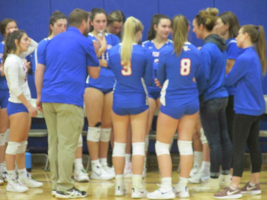 Waterford coach Matt Maynard led his girls volleyball team to next week's Class M semifinals with a quarterfinal win over Nonnewaug Friday evening at Woodbury Middle School. Photo: Peter Wallace / For Hearst Connecticut Media