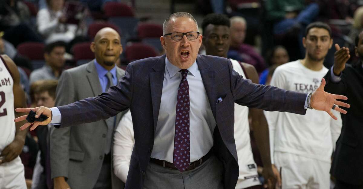 Texas A&M coach Buzz Williams reacts after a foul call during the first half of the team's NCAA college basketball game against Gonzaga on Friday, Nov. 15, 2019, in College Station, Texas. (AP Photo/Sam Craft)