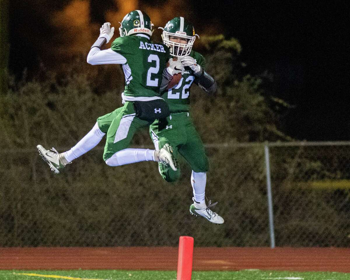 Shenendehowa running back Billy Beach and Kyle Acker (2) celebrate after a touchdown against Pine Bush during the Class AA New York state quarterfinals at Shaker High School on Friday, Nov. 15, 2019 (Jim Franco/Special to the Times Union.)